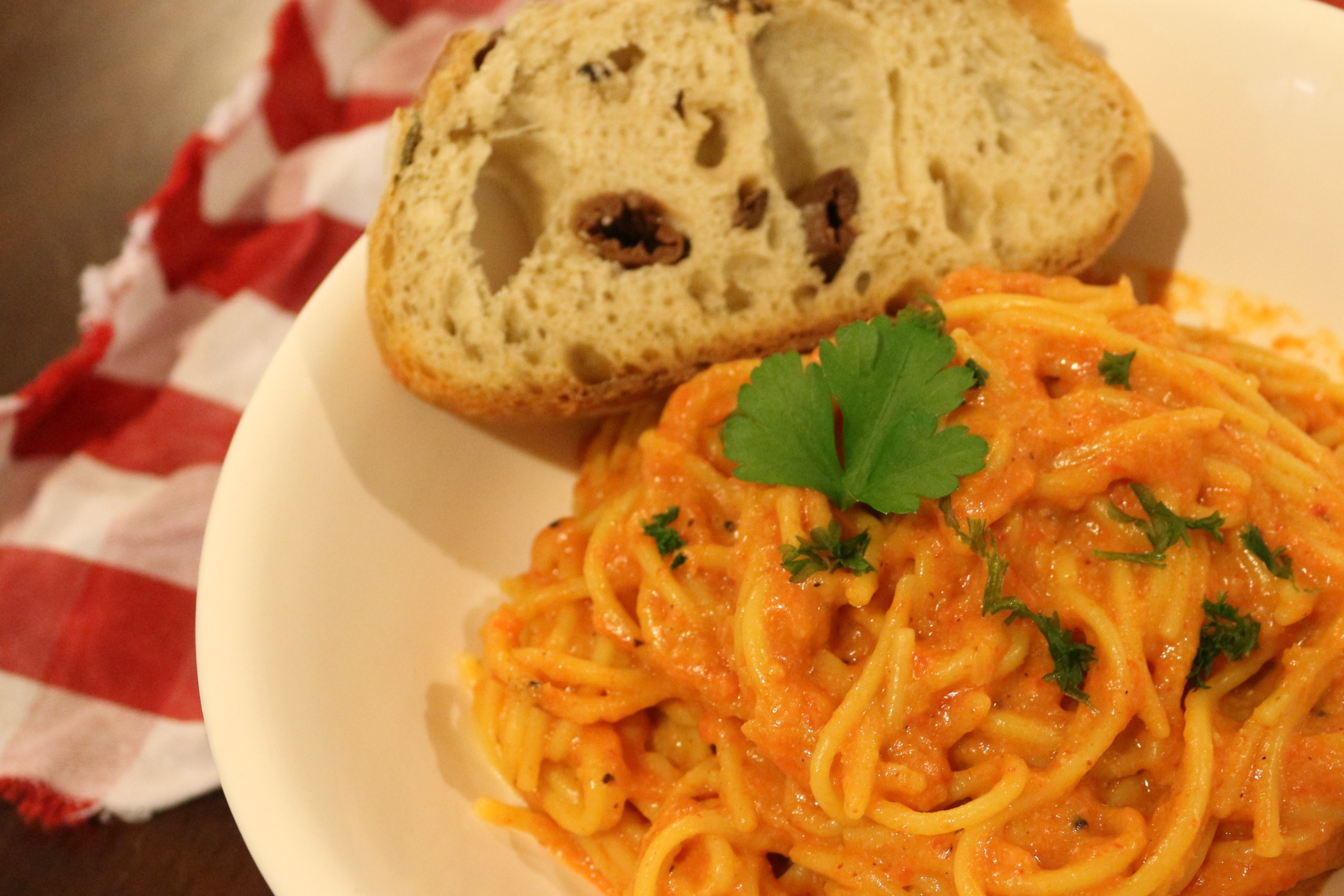 Vegan and Gluten Free Oven Roasted Red Pepper Pasta