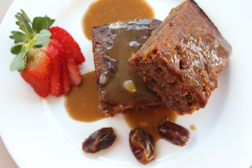 Vegan and Gluten free sticky date pudding with its caramel sauce
