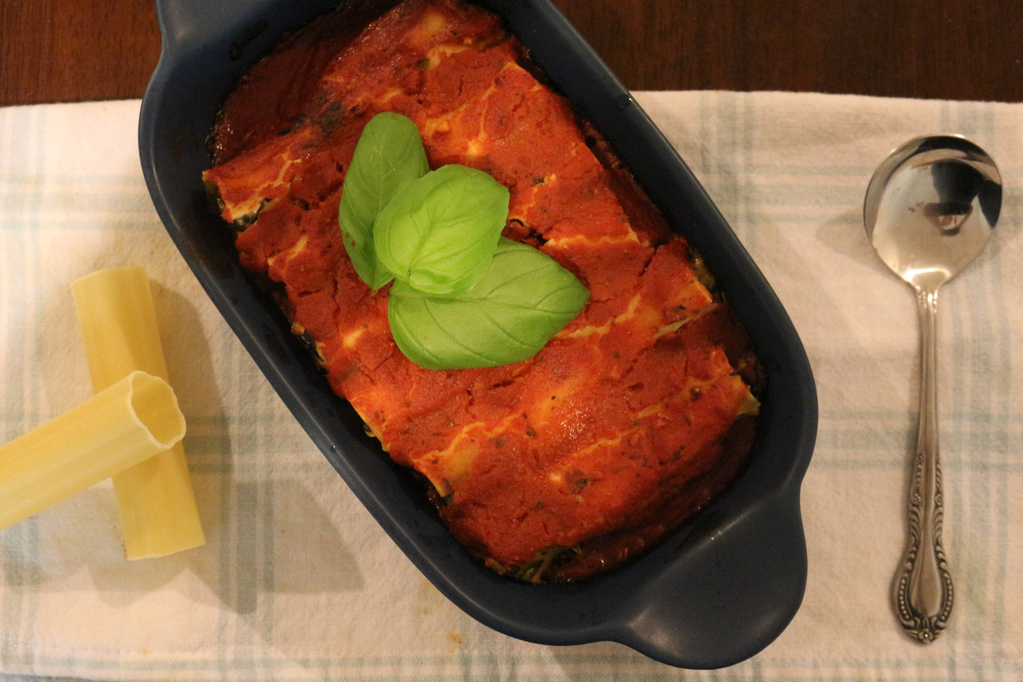 Vegan and gluten-free spinach & ricotta cannelloni